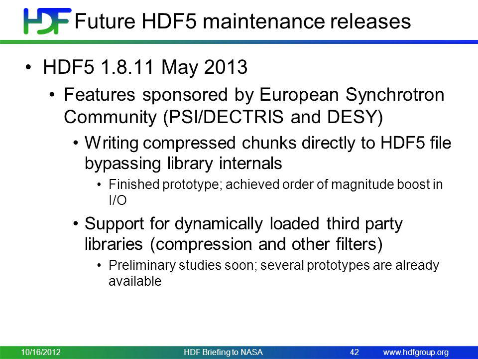 Future HDF5 maintenance releases