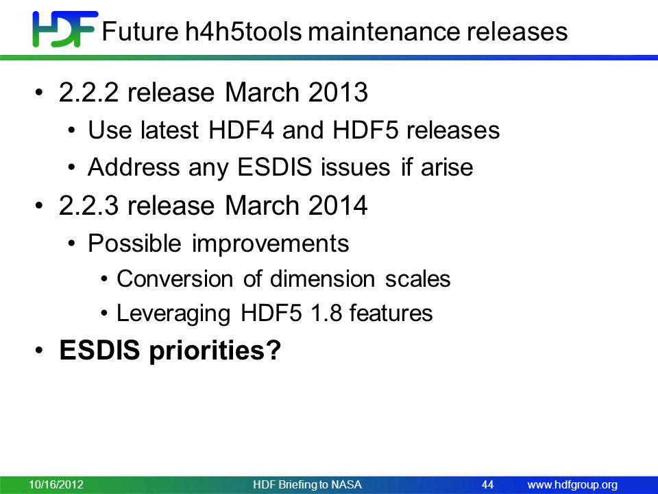 Future h4h5tools maintenance releases