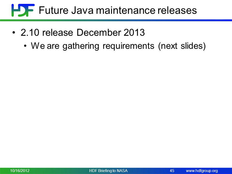Future Java maintenance releases