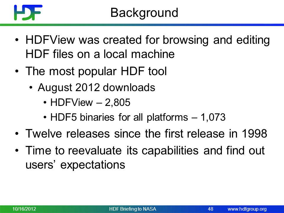 Background HDFView was created for browsing and editing HDF files on a local machine. The most popular HDF tool.