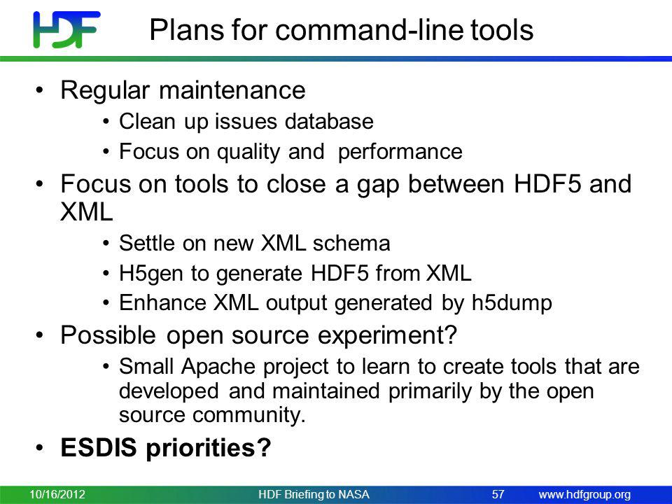 Plans for command-line tools