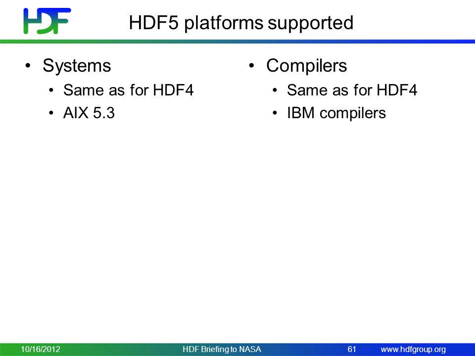 HDF5 platforms supported