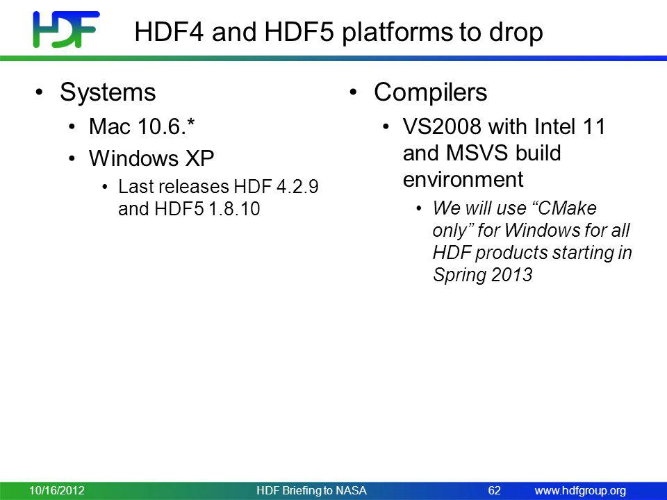 HDF4 and HDF5 platforms to drop