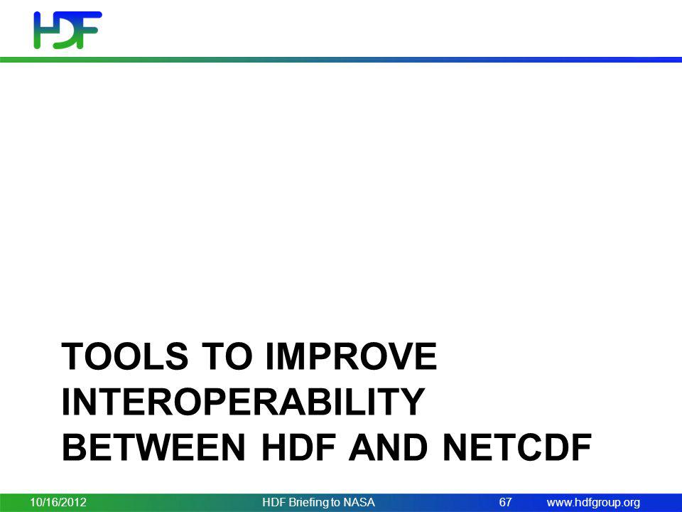 Tools to improve interoperability between HDF and netcdf