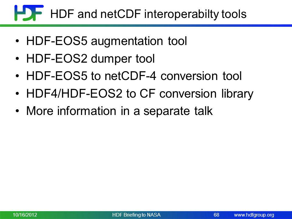 HDF and netCDF interoperabilty tools