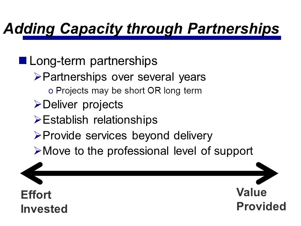 Adding Capacity through Partnerships