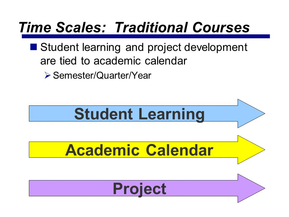 Time Scales: Traditional Courses