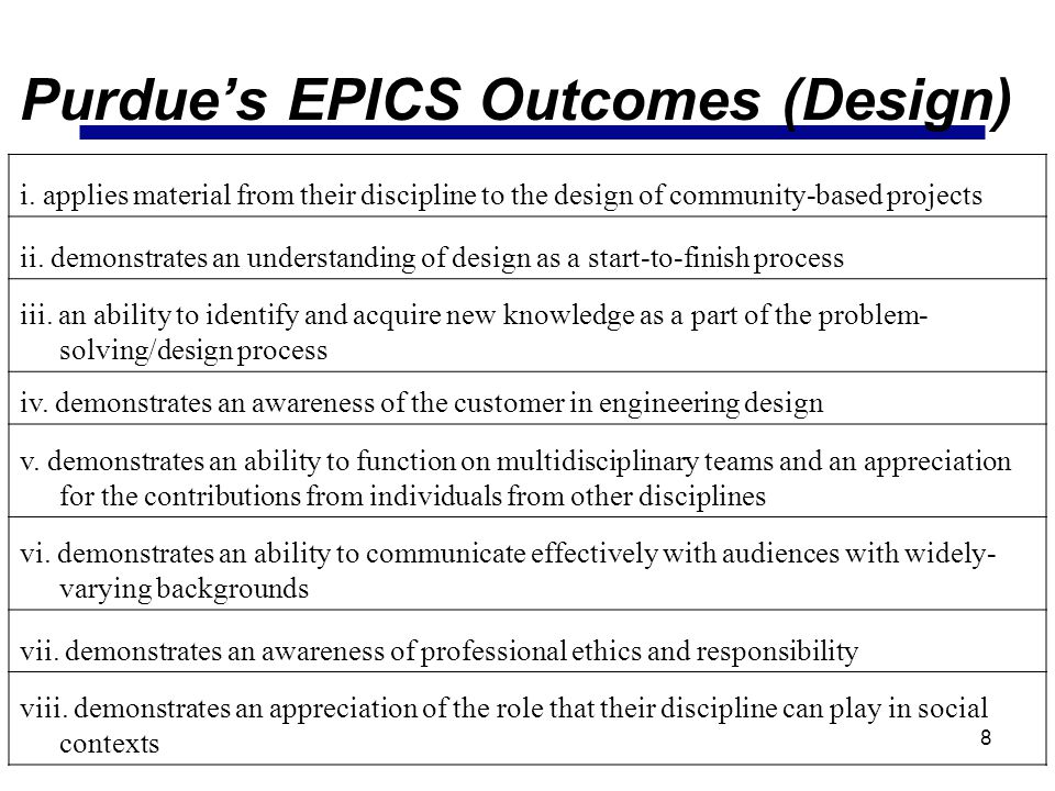 Purdue's EPICS Outcomes (Design)