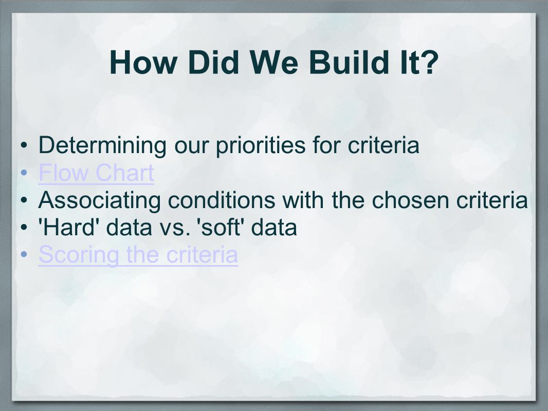 How Did We Build It Determining our priorities for criteria