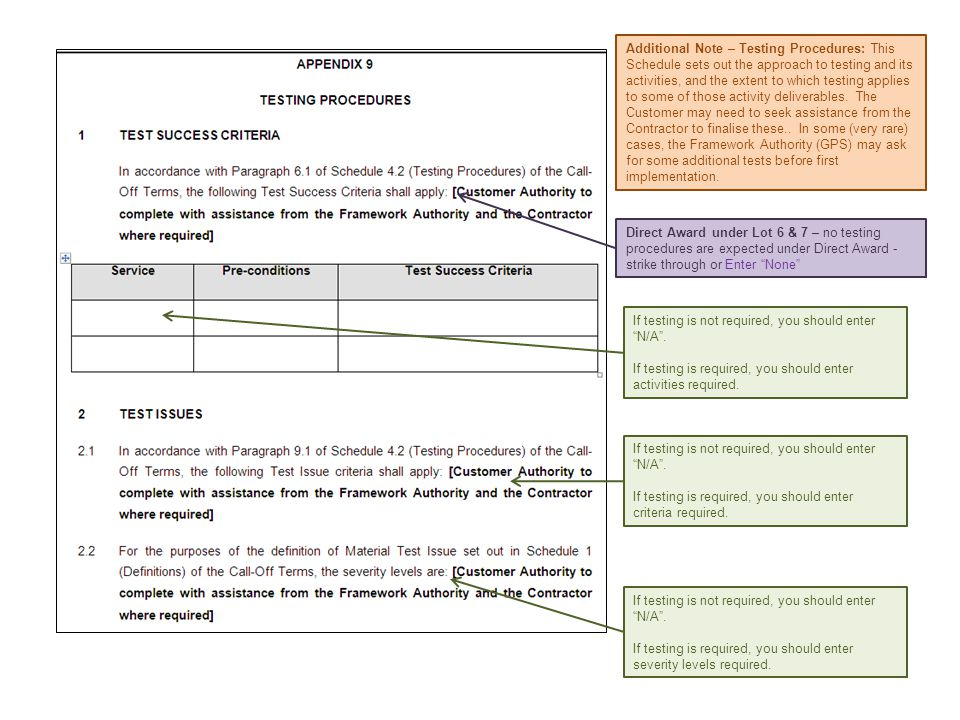 Additional Note – Testing Procedures: This Schedule sets out the approach to testing and its activities, and the extent to which testing applies to some of those activity deliverables. The Customer may need to seek assistance from the Contractor to finalise these.. In some (very rare) cases, the Framework Authority (GPS) may ask for some additional tests before first implementation.