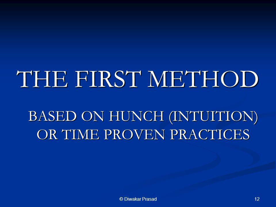 BASED ON HUNCH (INTUITION) OR TIME PROVEN PRACTICES