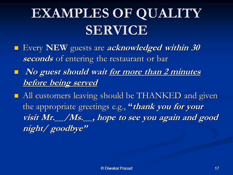 EXAMPLES OF QUALITY SERVICE