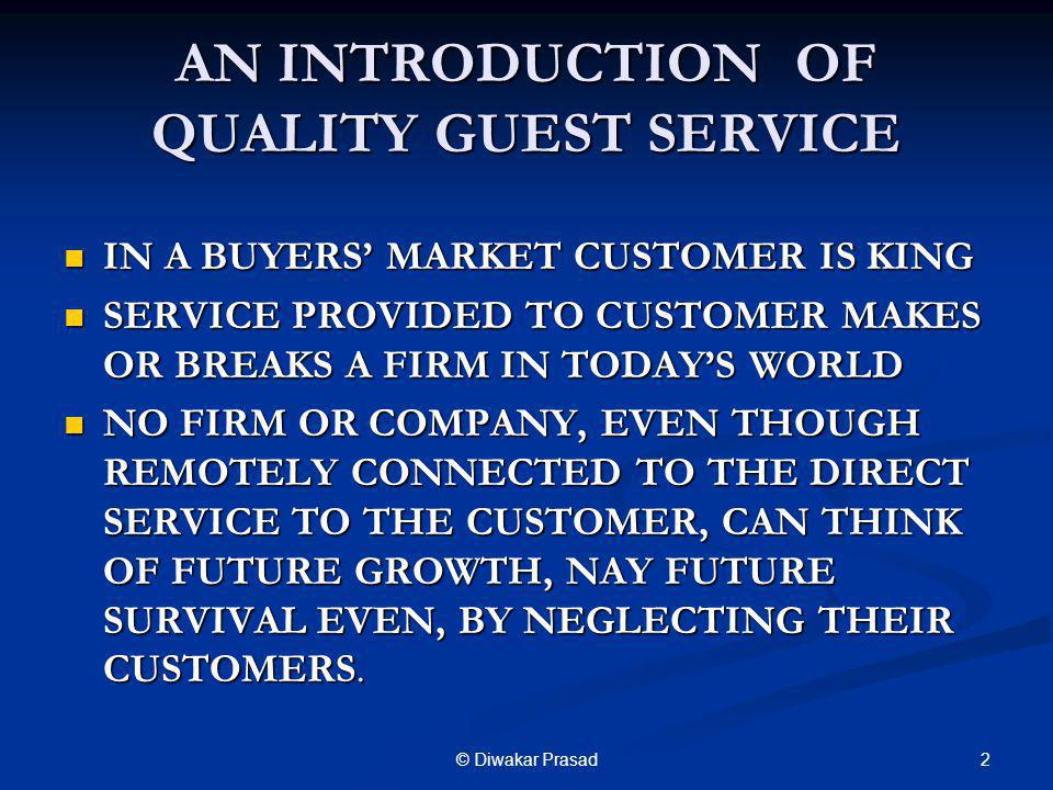 AN INTRODUCTION OF QUALITY GUEST SERVICE