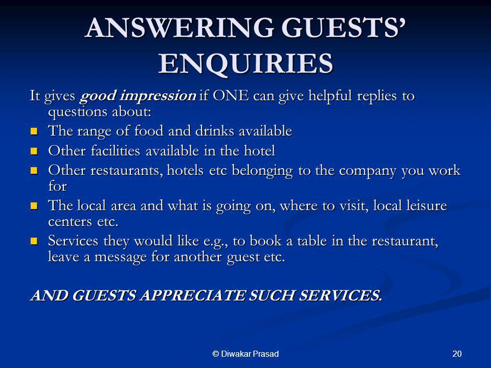 ANSWERING GUESTS' ENQUIRIES