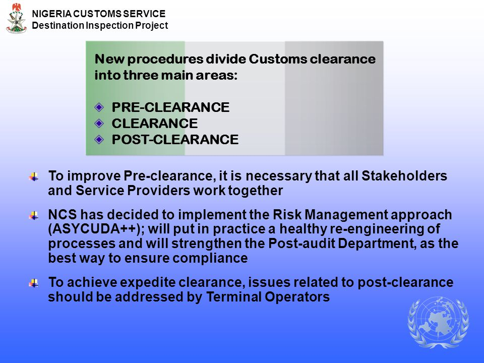 New procedures divide Customs clearance into three main areas: