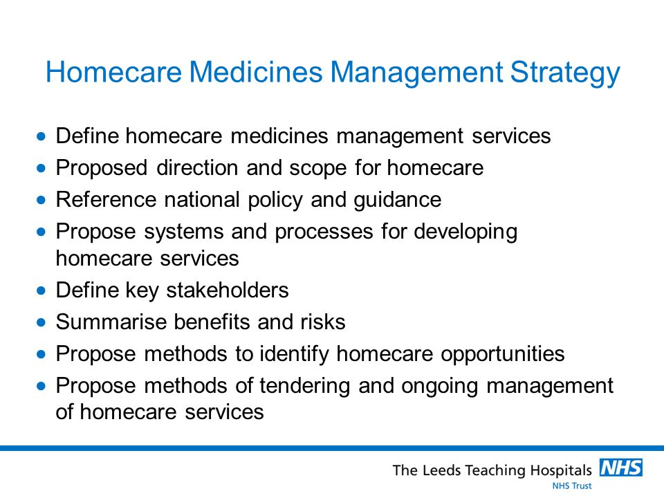 Homecare Medicines Management Strategy