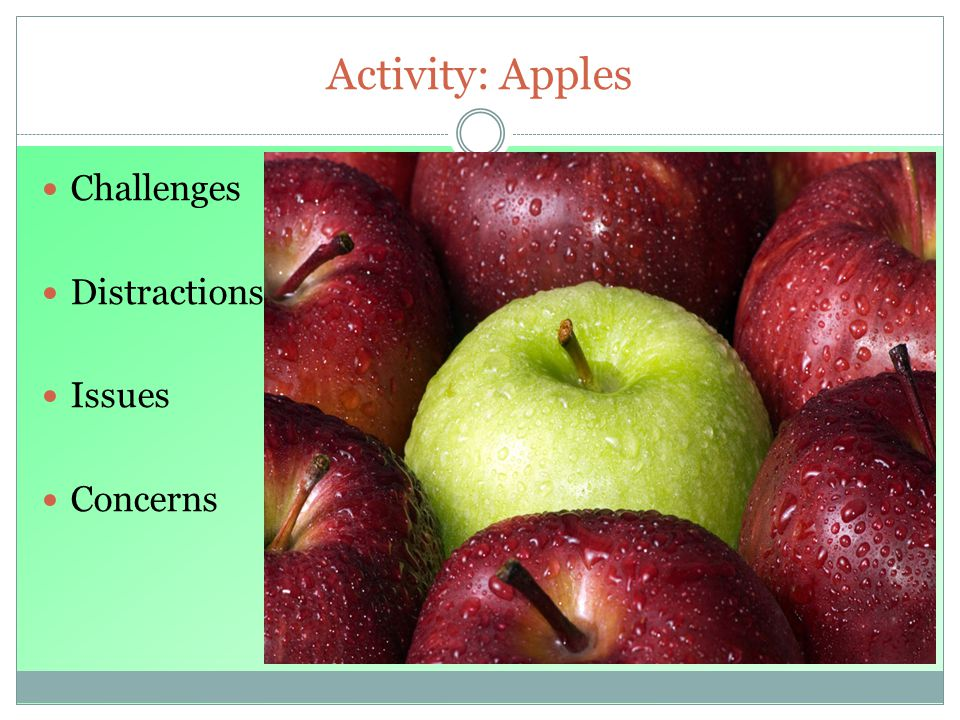 Activity: Apples Challenges Distractions Issues Concerns