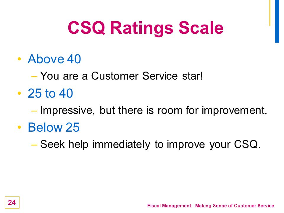 CSQ Ratings Scale Above 40 25 to 40 Below 25