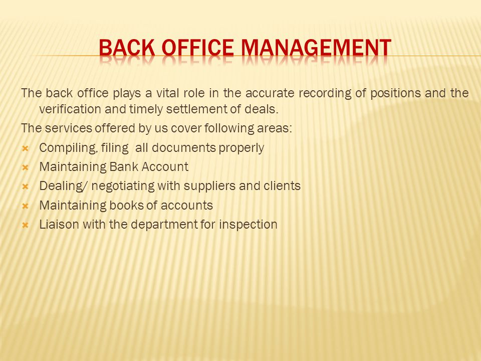 BACK OFFICE MANAGEMENT