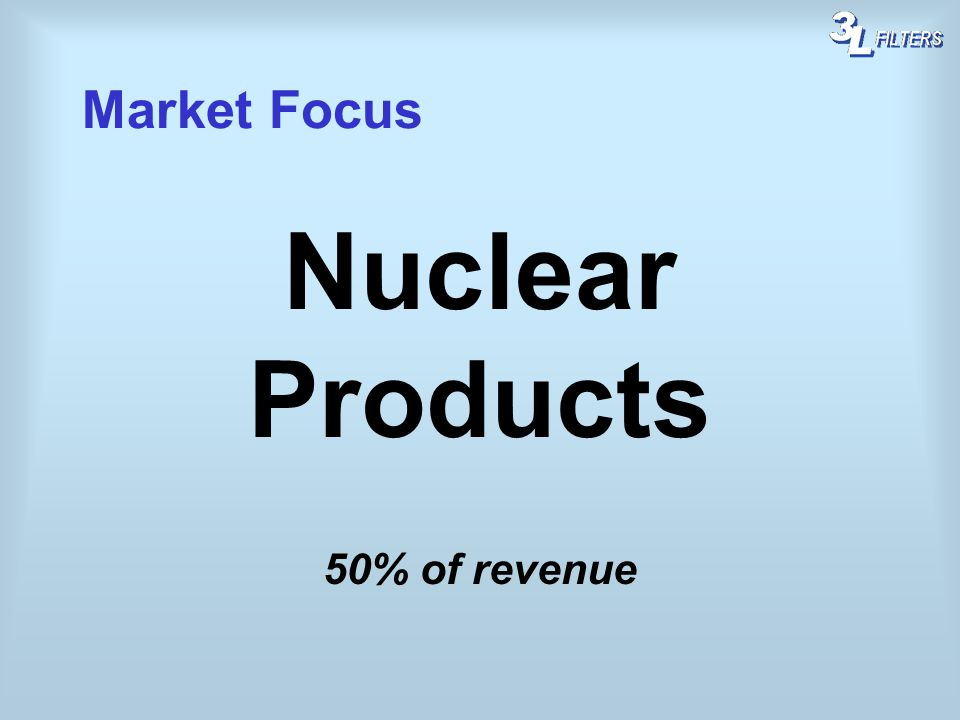 Market Focus Nuclear Products 50% of revenue