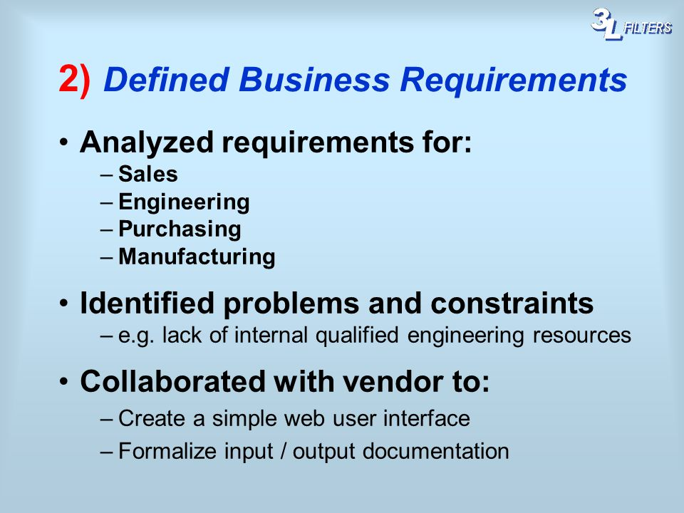 2) Defined Business Requirements