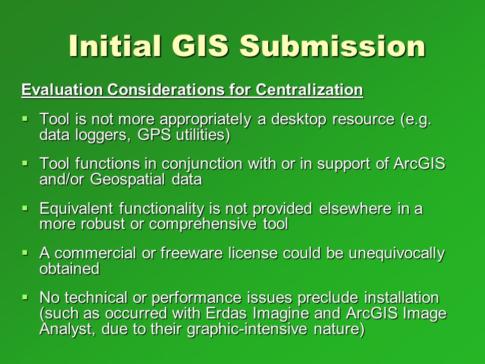 Initial GIS Submission
