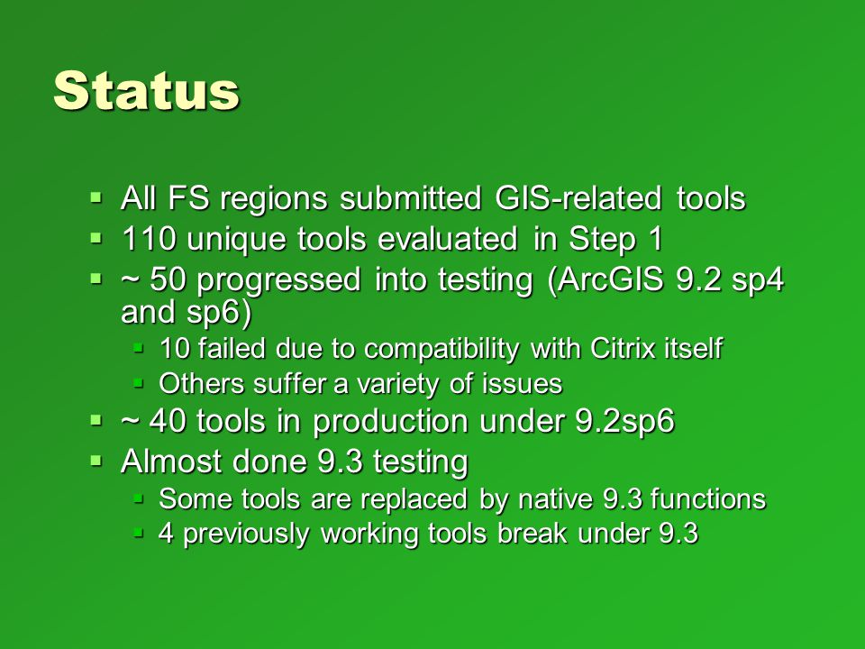 Status All FS regions submitted GIS-related tools