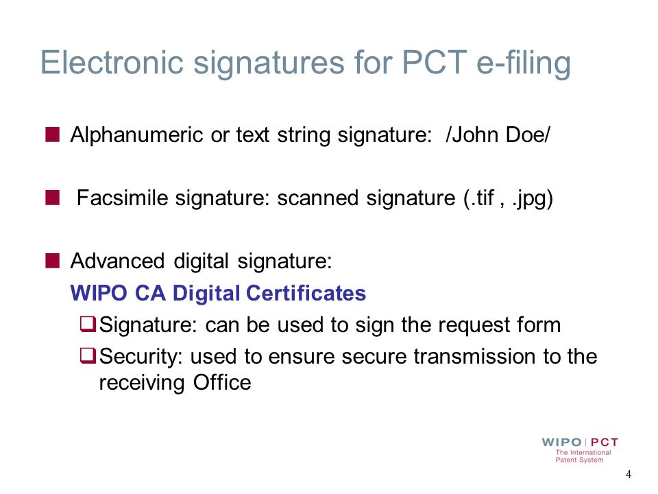 Electronic signatures for PCT e-filing