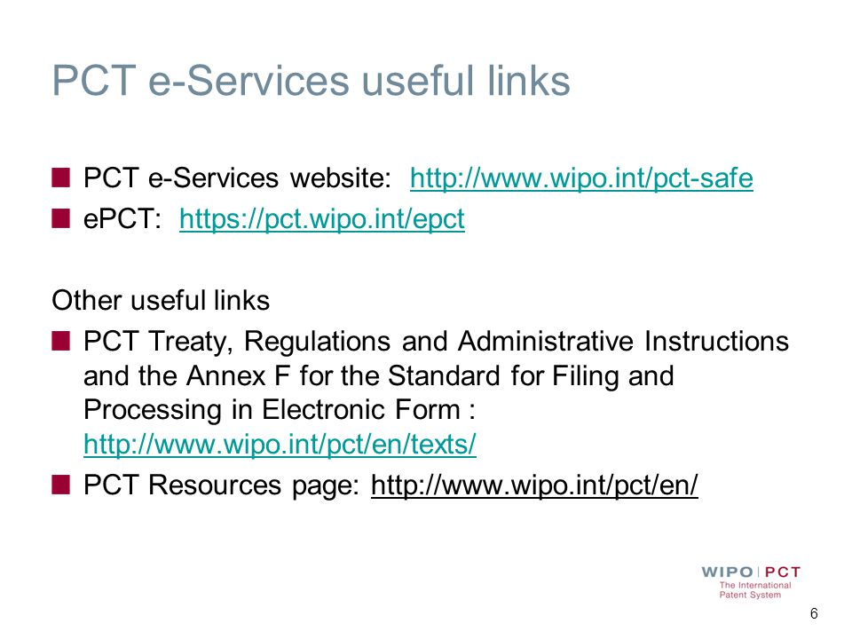 PCT e-Services useful links