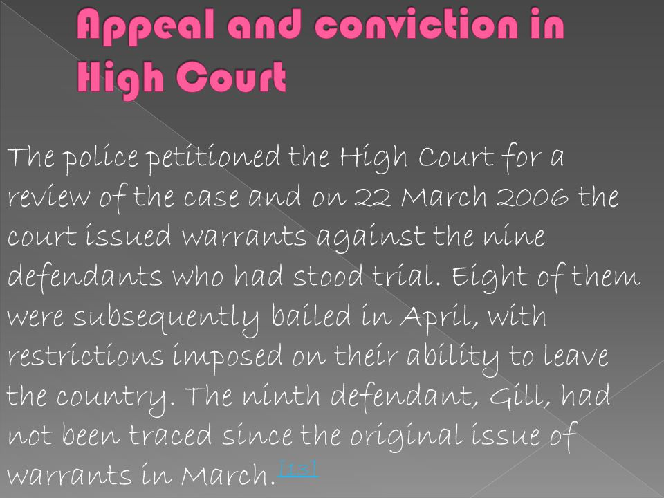 Appeal and conviction in High Court