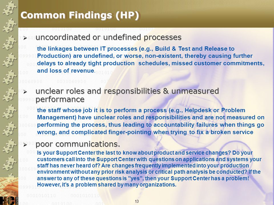 Common Findings (HP) uncoordinated or undefined processes