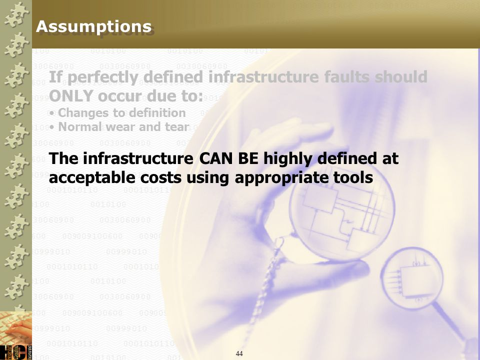 If perfectly defined infrastructure faults should ONLY occur due to:
