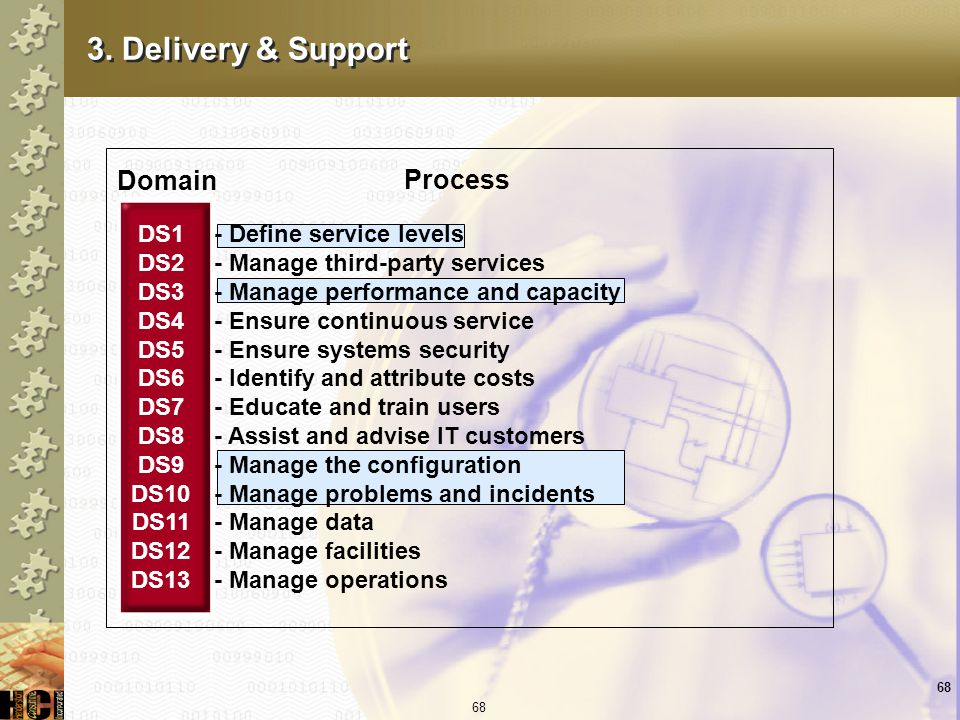 3. Delivery & Support Domain Process DS1 DS2 DS3 DS4 DS5 DS6 DS7 DS8