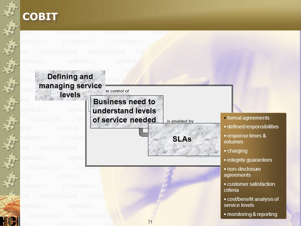 COBIT Defining and managing service levels
