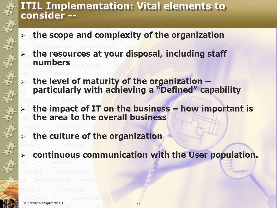 ITIL Implementation: Vital elements to consider --