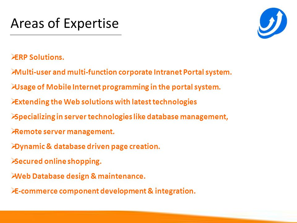 Areas of Expertise ERP Solutions.