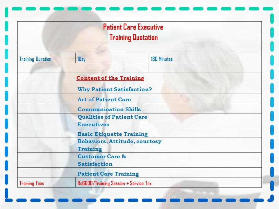 Training Quotation Patient Care Executive Training Duration 1Day