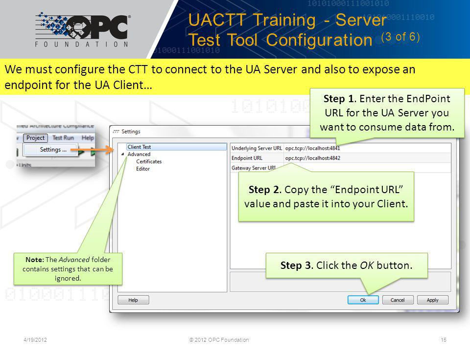 UACTT Training - Server Test Tool Configuration (3 of 6)