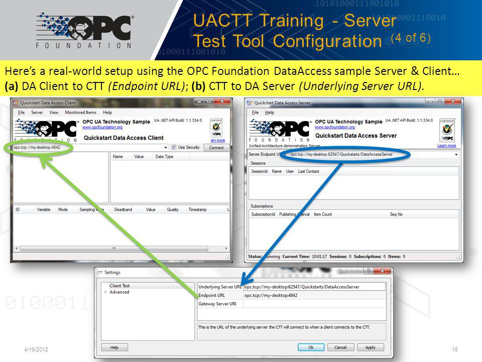 UACTT Training - Server Test Tool Configuration (4 of 6)