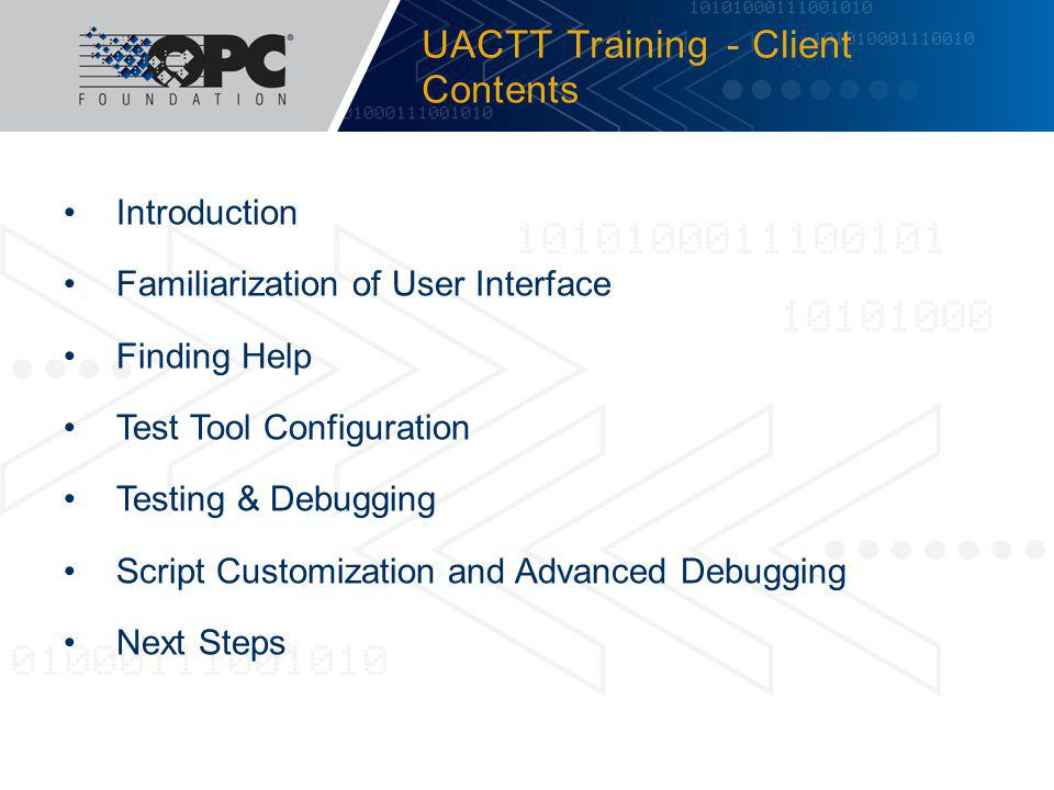 UACTT Training - Client Contents