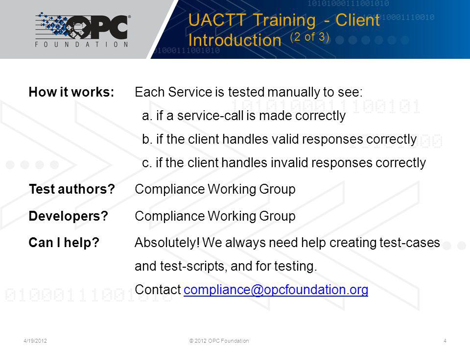 UACTT Training - Client Introduction (2 of 3)