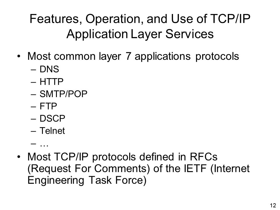 Features, Operation, and Use of TCP/IP Application Layer Services