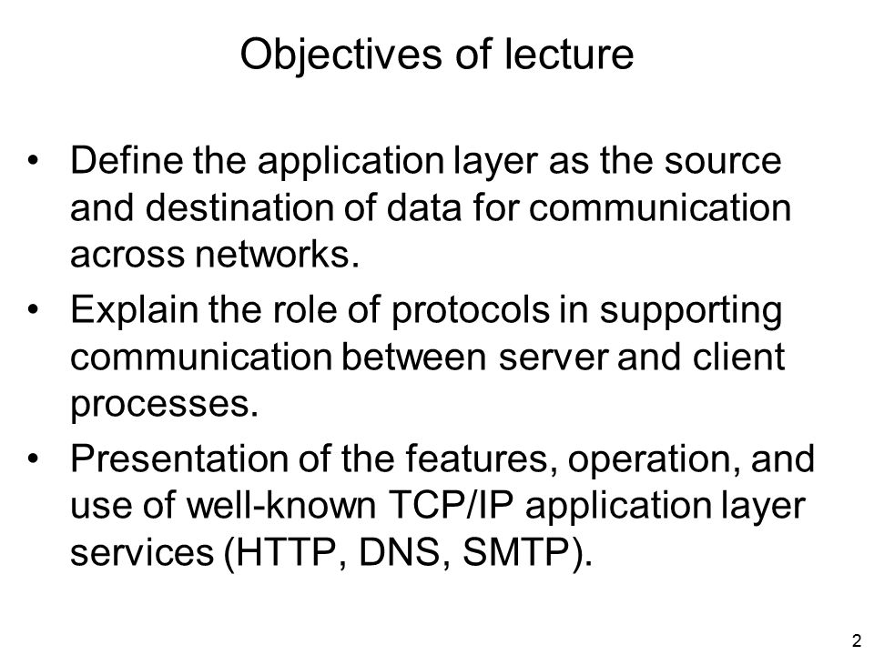 Objectives of lecture Define the application layer as the source and destination of data for communication across networks.