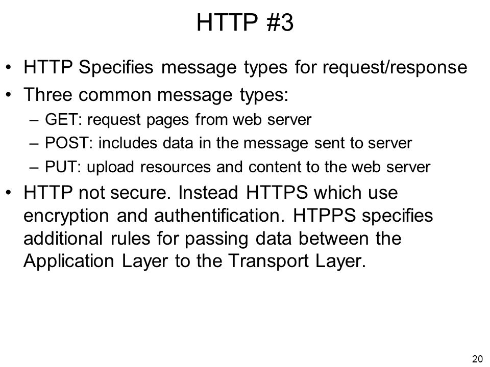 HTTP #3 HTTP Specifies message types for request/response