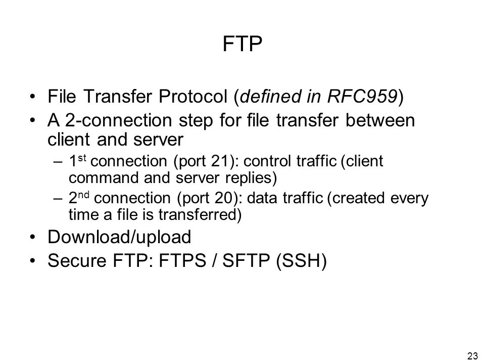 FTP File Transfer Protocol (defined in RFC959)