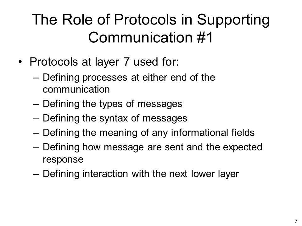 The Role of Protocols in Supporting Communication #1