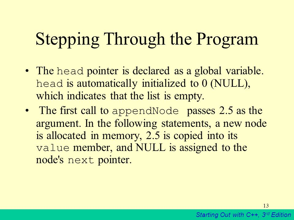 Stepping Through the Program