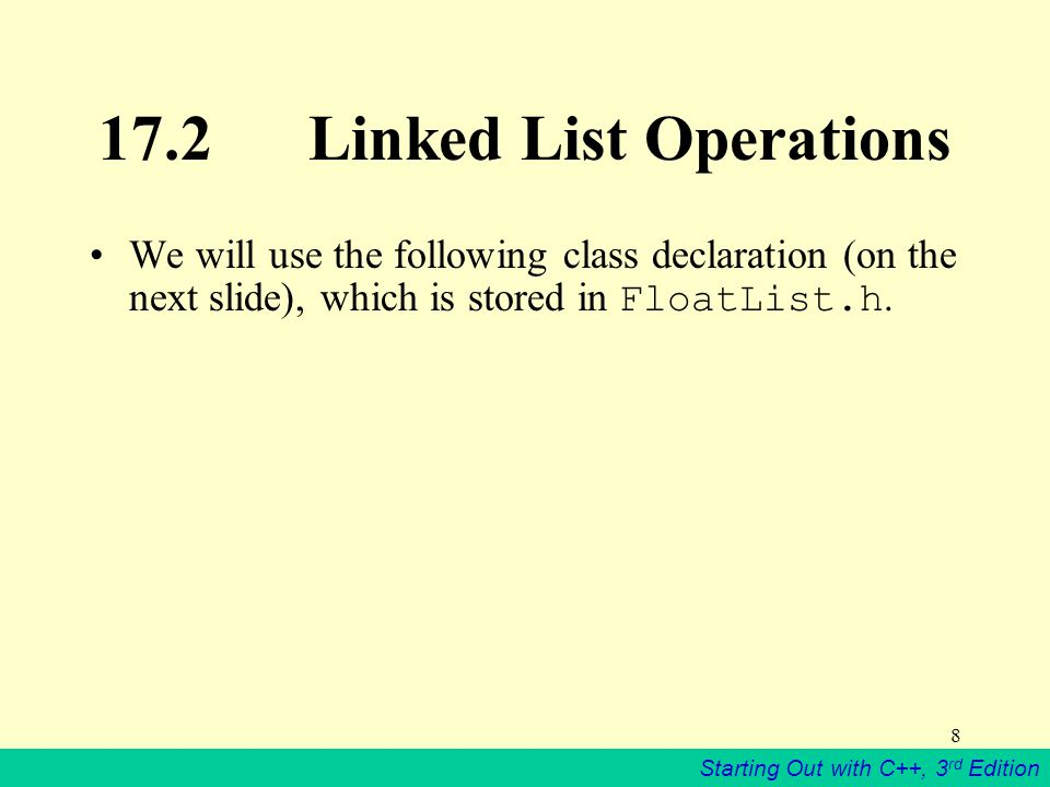 17.2 Linked List Operations