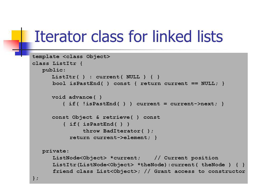 Iterator class for linked lists