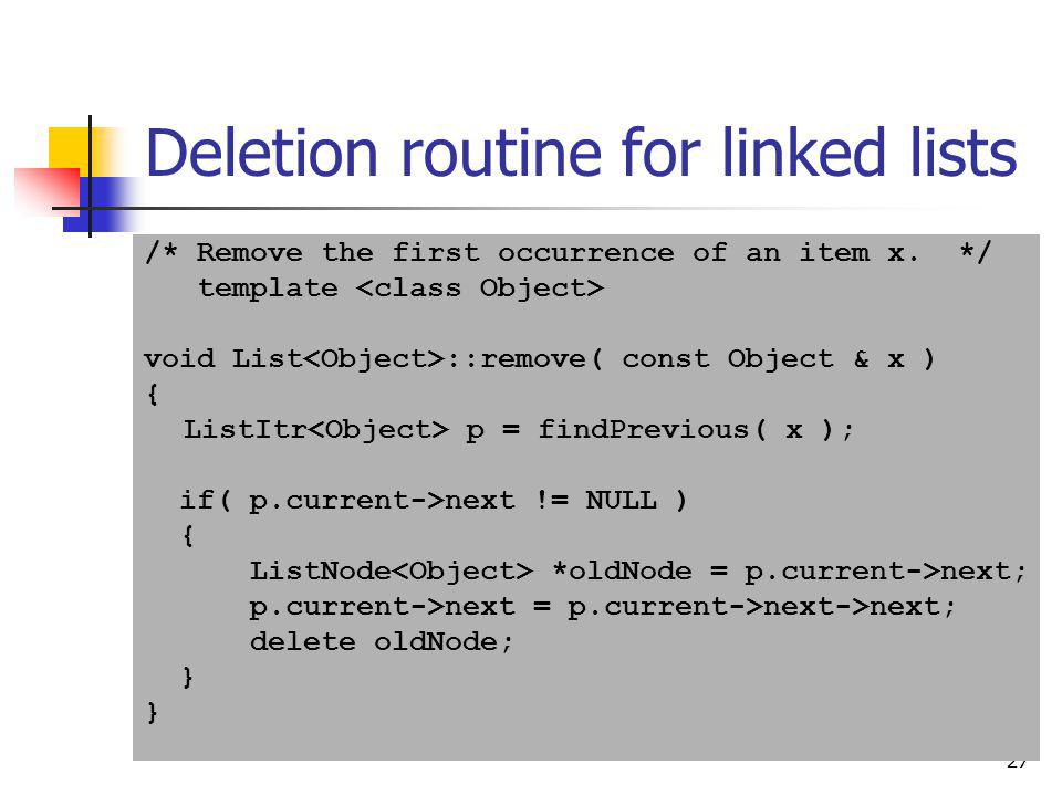 Deletion routine for linked lists